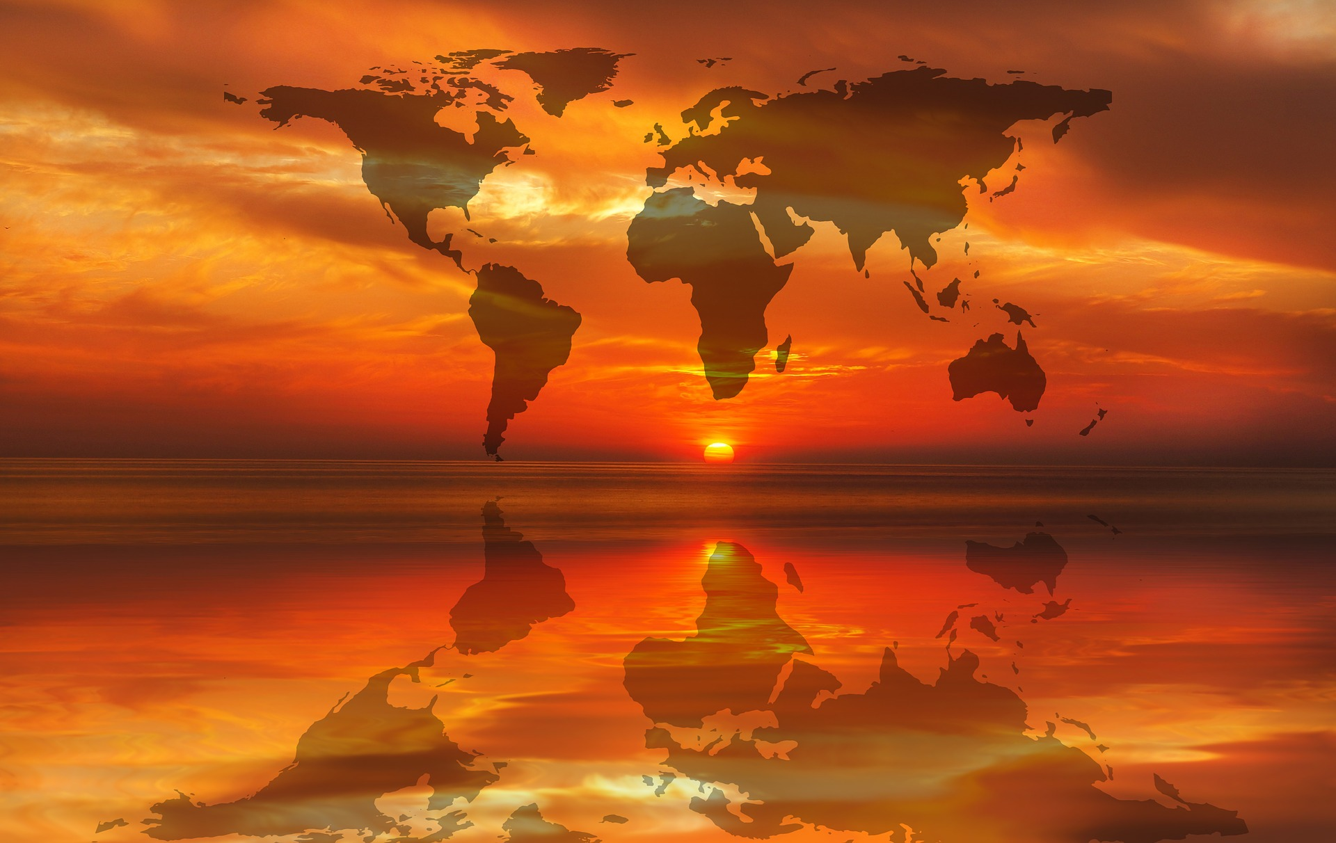 world map sunset